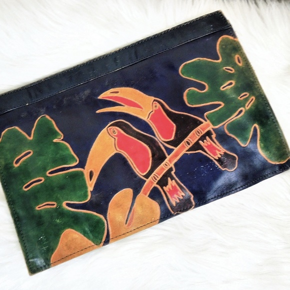 Vintage Handbags - Vintage Leather Bag Hand Painted Pelicans